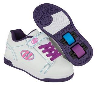 Dual Up Heelys that show splatters under UV light.