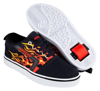 Shoes with Wheels - Heelys GR8 Pro Black with red and flames