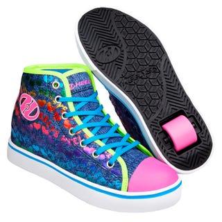 Adult Heelys - Veloz Denim / Glitter / Rainbow